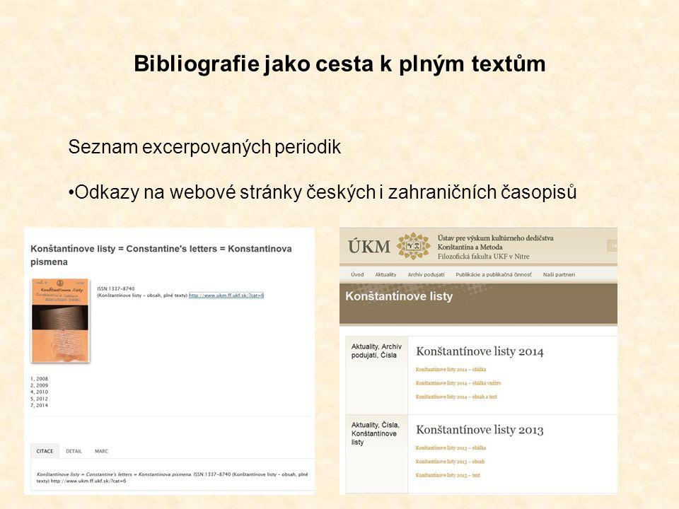 Bibliografie jako cesta k plným textům Seznam excerpovaných periodik Odkazy na webové stránky českých i zahraničních časopisů