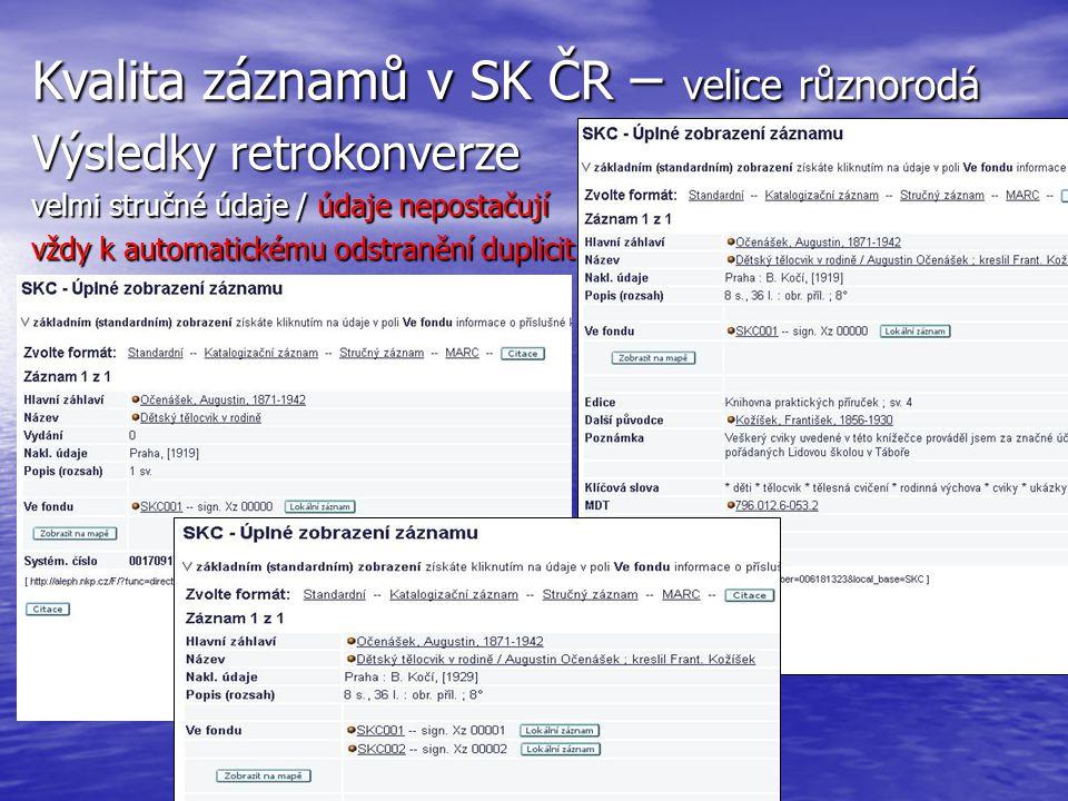 Kvalita záznamů v SK ČR – velice různorodá Výsledky retrokonverze velmi stručné údaje / údaje nepostačují vždy k automatickému odstranění duplicit