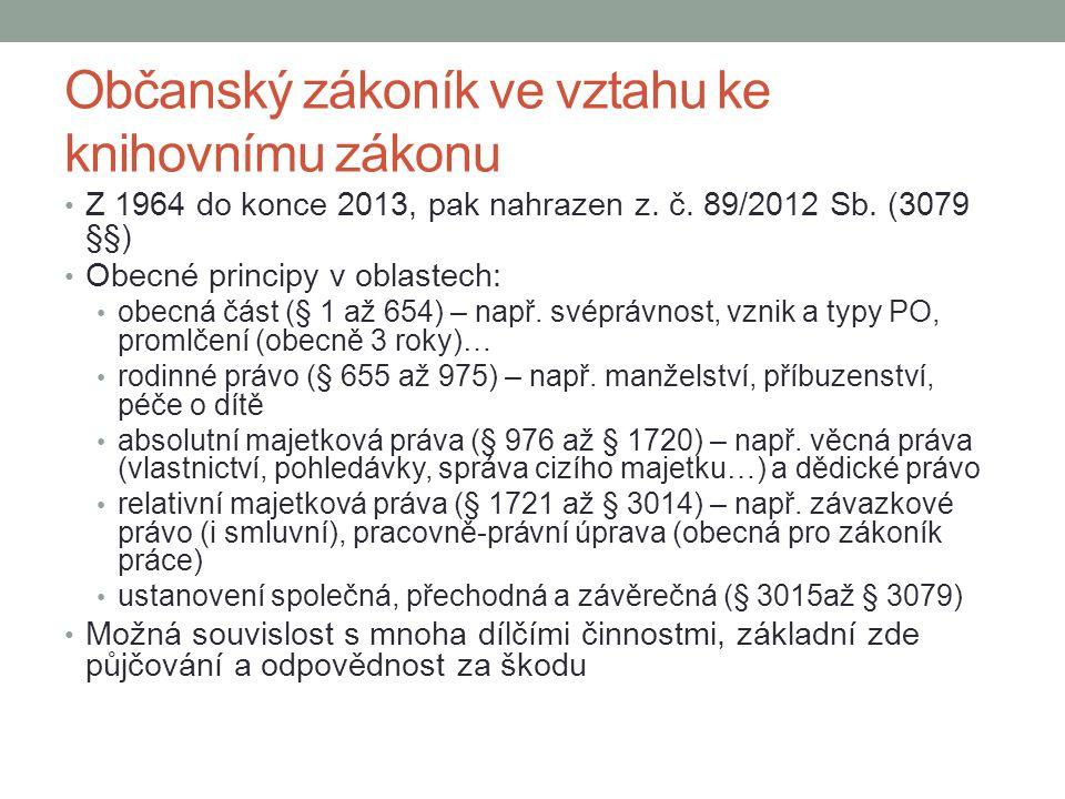 Občanský zákoník ve vztahu ke knihovnímu zákonu Z 1964 do konce 2013, pak nahrazen z.