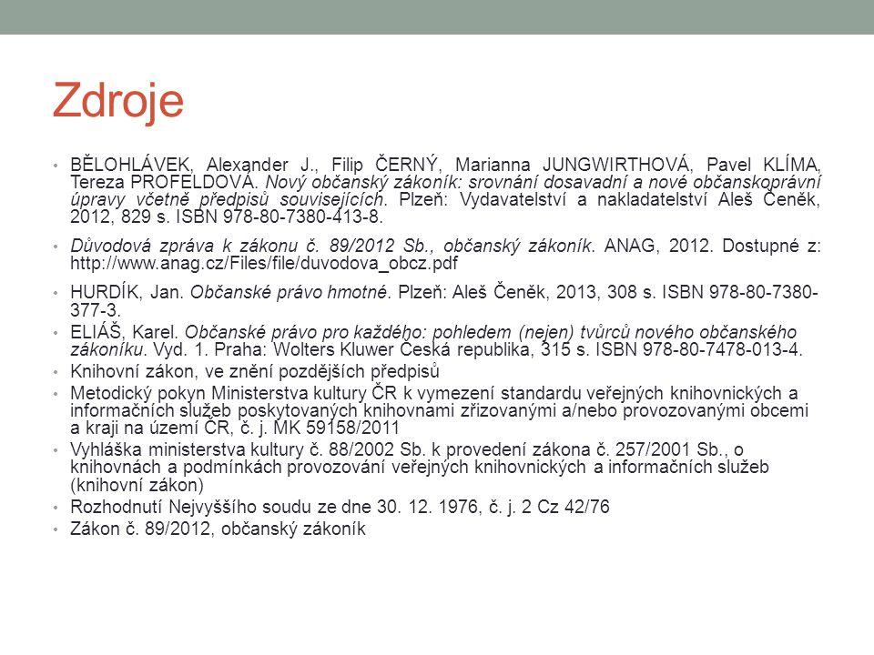 Zdroje BĚLOHLÁVEK, Alexander J., Filip ČERNÝ, Marianna JUNGWIRTHOVÁ, Pavel KLÍMA, Tereza PROFELDOVÁ.