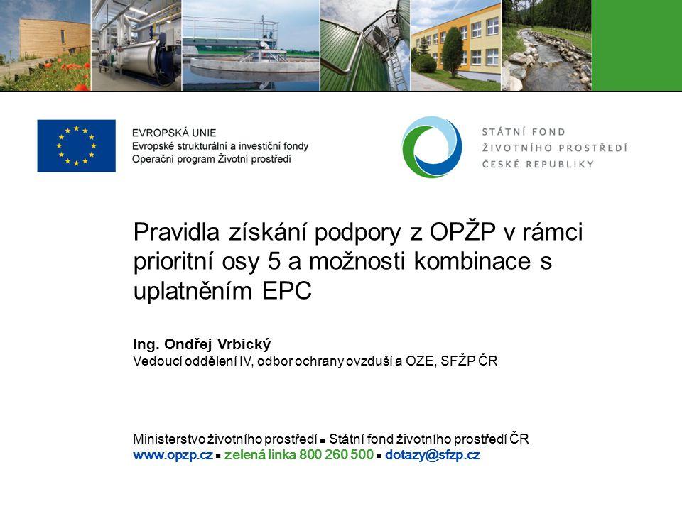 Ministerstvo životního prostředí Státní fond životního prostředí ČR www.opzp.cz zelená linka 800 260 500 dotazy@sfzp.cz Pravidla získání podpory z OPŽ