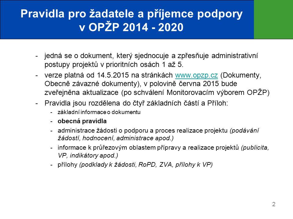 2 Pravidla pro žadatele a příjemce podpory v OPŽP 2014 - 2020  jedná se o dokument, který sjednocuje a zpřesňuje administrativní postupy projektů v prioritních osách 1 až 5.