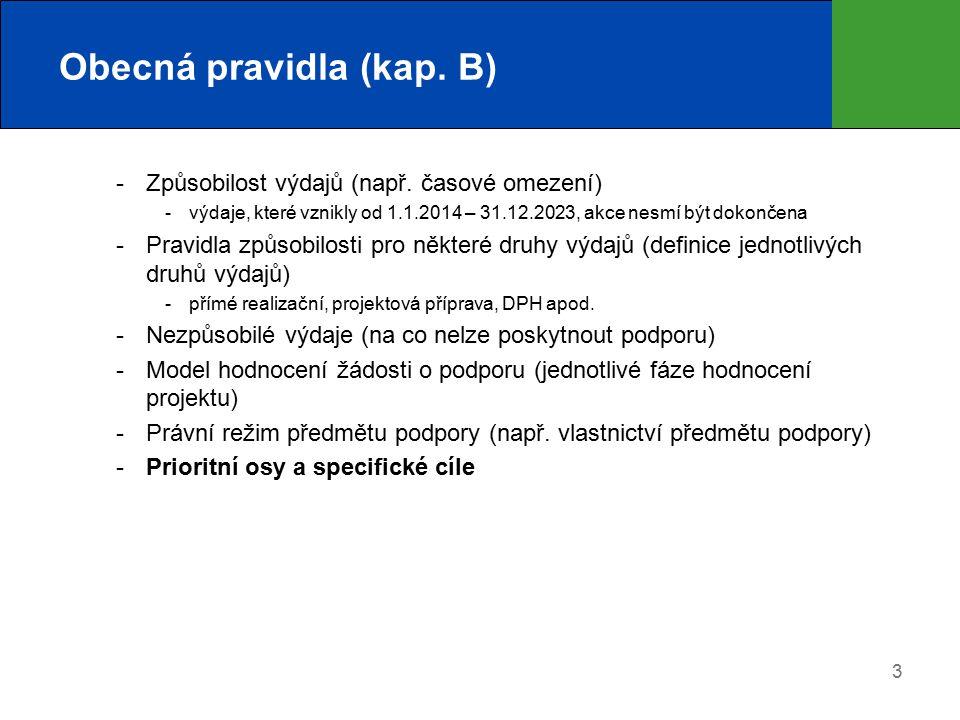 3 Obecná pravidla (kap. B)  Způsobilost výdajů (např.
