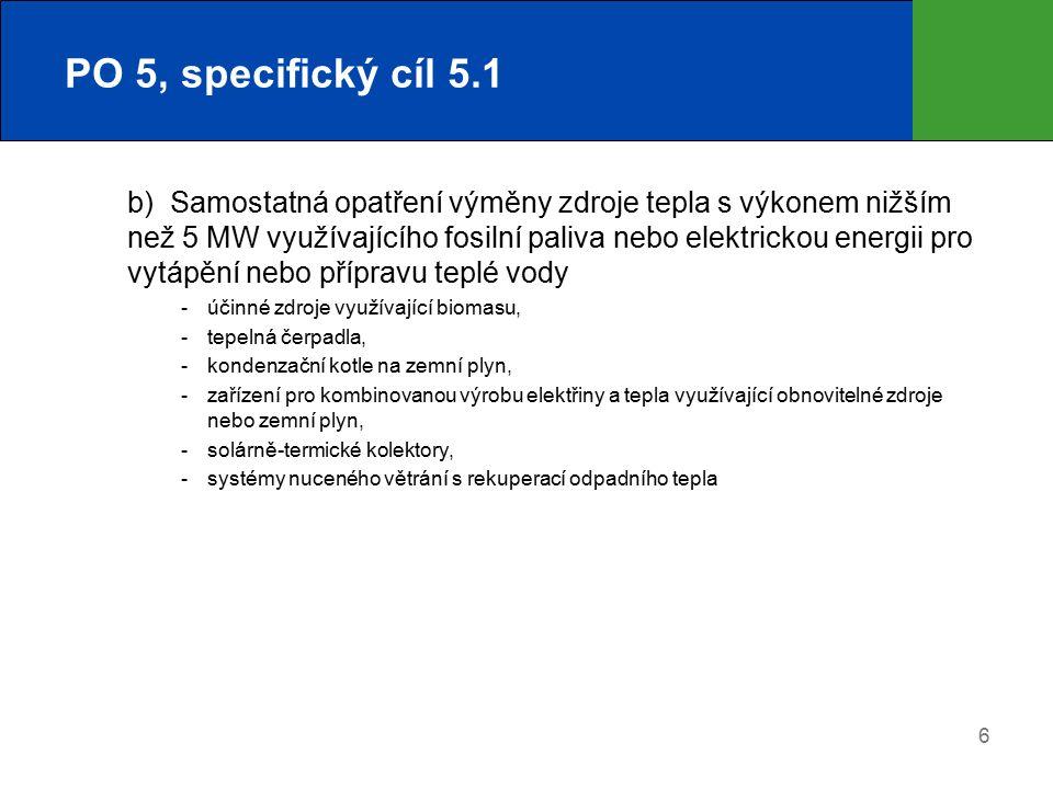 6 PO 5, specifický cíl 5.1 b)Samostatná opatření výměny zdroje tepla s výkonem nižším než 5 MW využívajícího fosilní paliva nebo elektrickou energii pro vytápění nebo přípravu teplé vody  účinné zdroje využívající biomasu,  tepelná čerpadla,  kondenzační kotle na zemní plyn,  zařízení pro kombinovanou výrobu elektřiny a tepla využívající obnovitelné zdroje nebo zemní plyn,  solárně-termické kolektory,  systémy nuceného větrání s rekuperací odpadního tepla