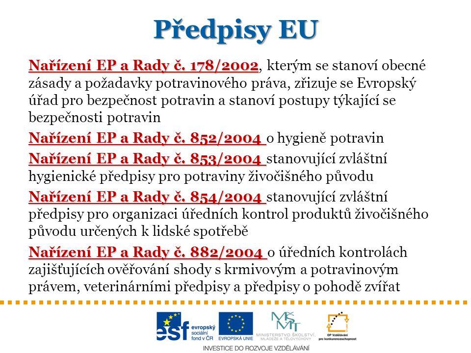 Předpisy EU Nařízení EP a Rady č. 178/2002 Nařízení EP a Rady č. 178/2002, kterým se stanoví obecné zásady a požadavky potravinového práva, zřizuje se