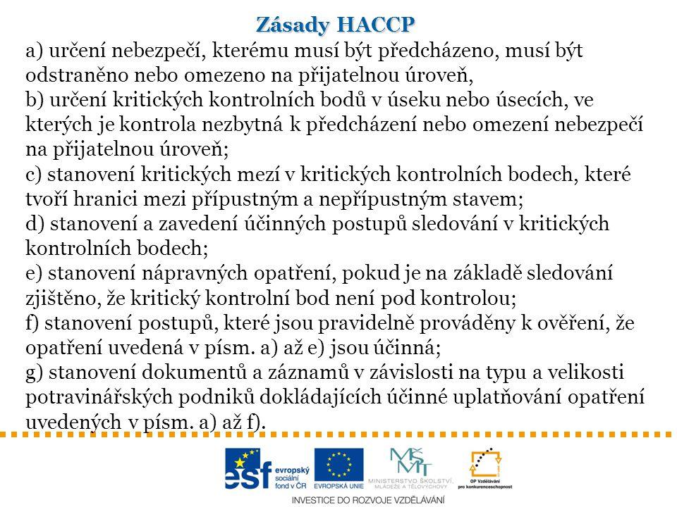 Zásady HACCP a) určení nebezpečí, kterému musí být předcházeno, musí být odstraněno nebo omezeno na přijatelnou úroveň, b) určení kritických kontrolní
