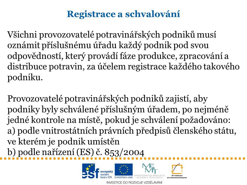 Registrace a schvalování Všichni provozovatelé potravinářských podniků musí oznámit příslušnému úřadu každý podnik pod svou odpovědností, který provád