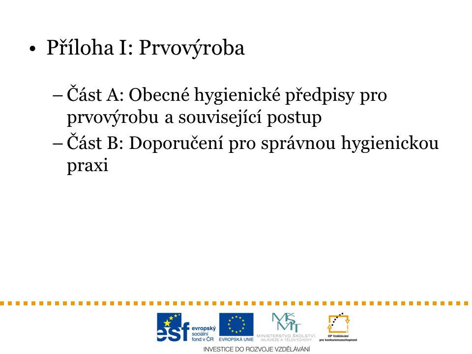 Příloha I: Prvovýroba –Část A: Obecné hygienické předpisy pro prvovýrobu a související postup –Část B: Doporučení pro správnou hygienickou praxi