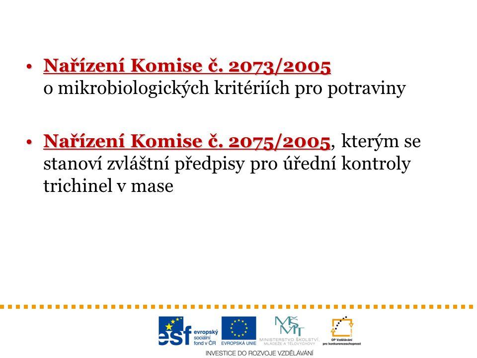 Nařízení Komise č. 2073/2005Nařízení Komise č. 2073/2005 o mikrobiologických kritériích pro potraviny Nařízení Komise č. 2075/2005Nařízení Komise č. 2