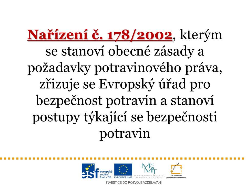 Nařízení č. 178/2002 Nařízení č. 178/2002, kterým se stanoví obecné zásady a požadavky potravinového práva, zřizuje se Evropský úřad pro bezpečnost po
