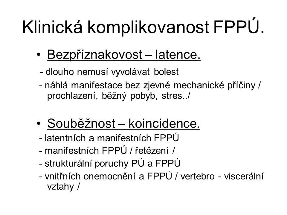 Klinická komplikovanost FPPÚ. Bezpříznakovost – latence. - dlouho nemusí vyvolávat bolest - náhlá manifestace bez zjevné mechanické příčiny / prochlaz