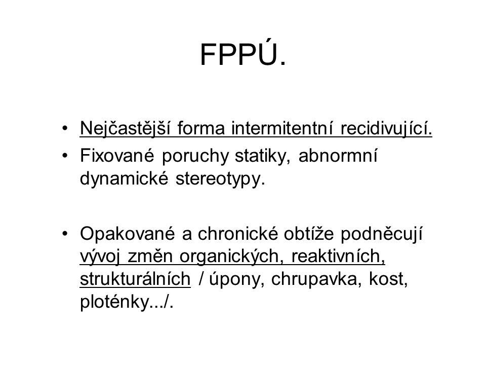 FPPÚ. Nejčastější forma intermitentní recidivující. Fixované poruchy statiky, abnormní dynamické stereotypy. Opakované a chronické obtíže podněcují vý