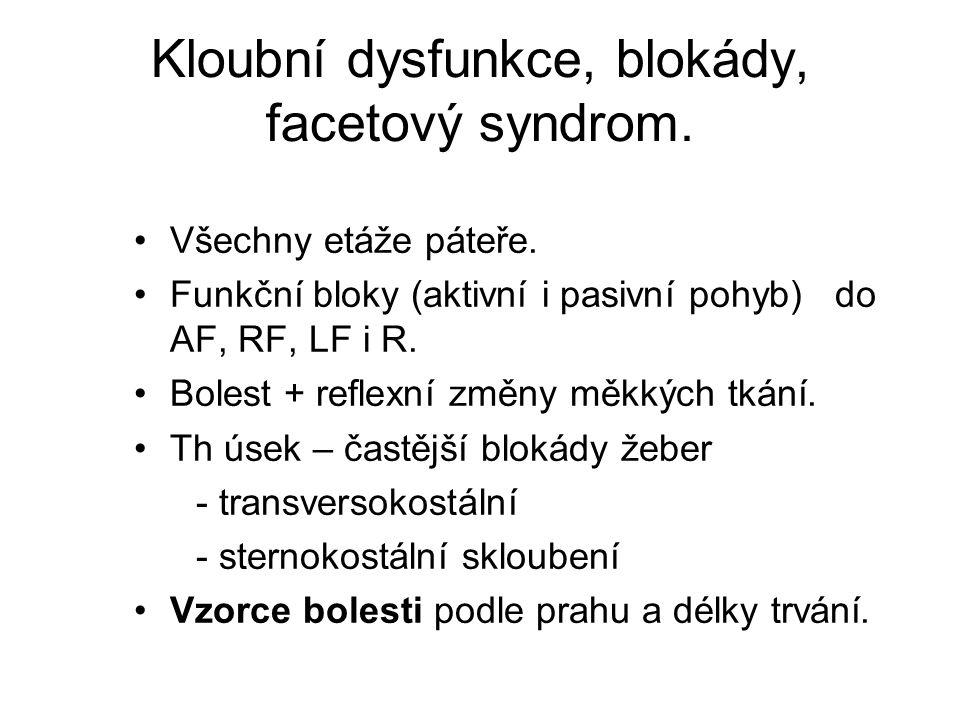 Kloubní dysfunkce, blokády, facetový syndrom. Všechny etáže páteře. Funkční bloky (aktivní i pasivní pohyb) do AF, RF, LF i R. Bolest + reflexní změny