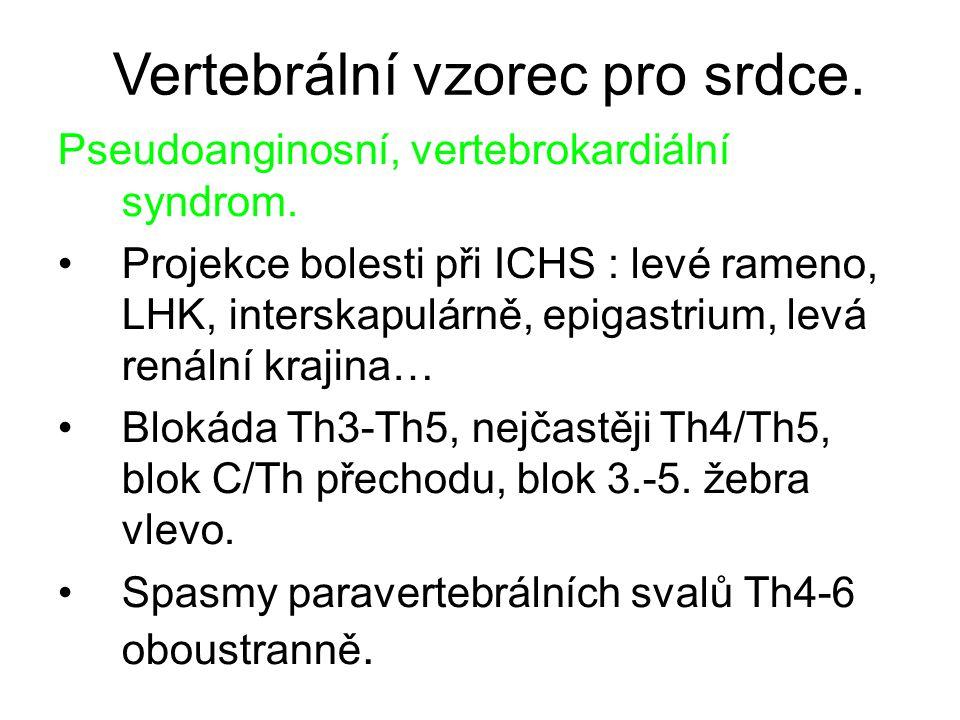 Vertebrální vzorec pro srdce. Pseudoanginosní, vertebrokardiální syndrom. Projekce bolesti při ICHS : levé rameno, LHK, interskapulárně, epigastrium,