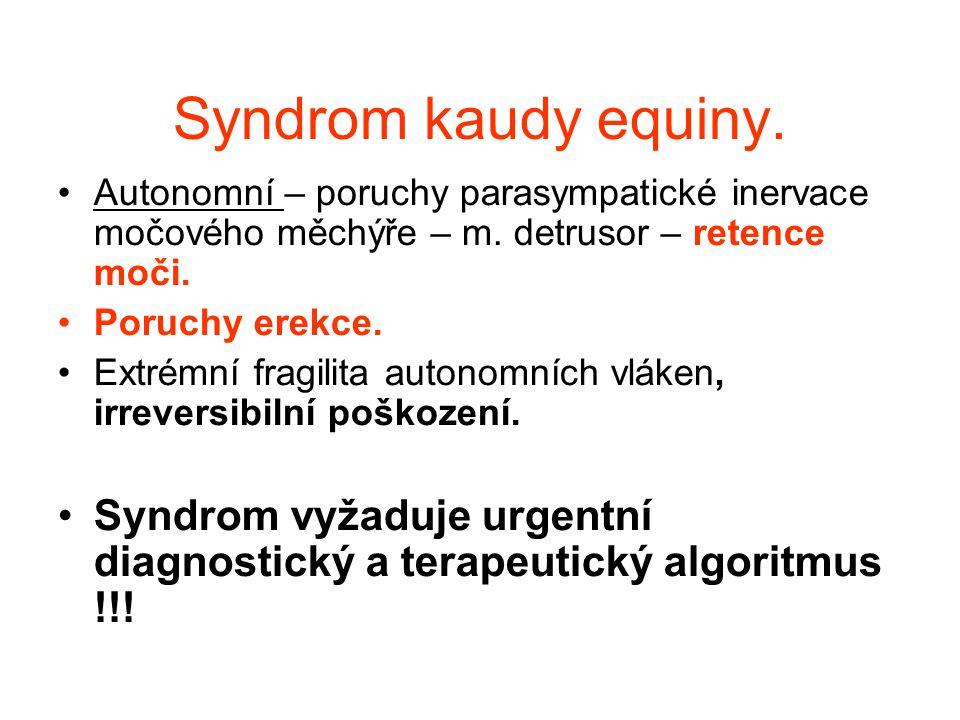 Syndrom kaudy equiny. Autonomní – poruchy parasympatické inervace močového měchýře – m. detrusor – retence moči. Poruchy erekce. Extrémní fragilita au