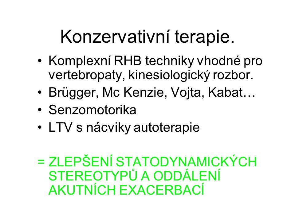 Konzervativní terapie. Komplexní RHB techniky vhodné pro vertebropaty, kinesiologický rozbor. Brügger, Mc Kenzie, Vojta, Kabat… Senzomotorika LTV s ná
