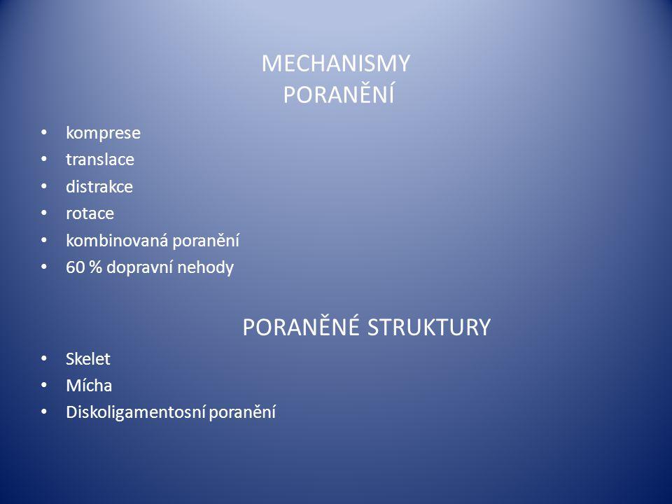  spina bifida occulta – 15 %  spina bifida aperta: spinální dysrafismy meningokéla meningomyelokéla – malforamace Arnold-Chiariho myeloschisis myelocystokéla