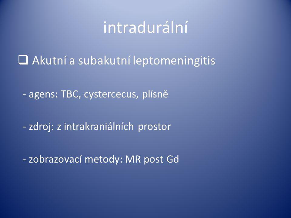 intradurální  Akutní a subakutní leptomeningitis - agens: TBC, cystercecus, plísně - zdroj: z intrakraniálních prostor - zobrazovací metody: MR post