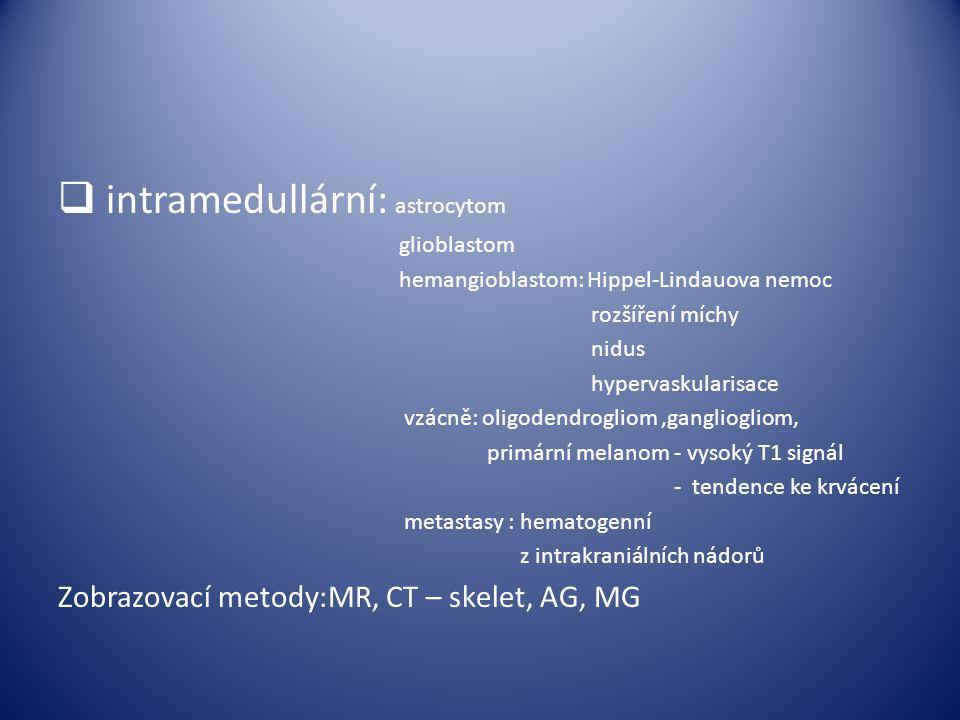  intramedullární: astrocytom glioblastom hemangioblastom: Hippel-Lindauova nemoc rozšíření míchy nidus hypervaskularisace vzácně: oligodendrogliom,ga