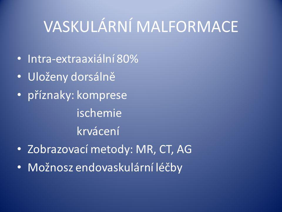 VASKULÁRNÍ MALFORMACE Intra-extraaxiální 80% Uloženy dorsálně příznaky: komprese ischemie krvácení Zobrazovací metody: MR, CT, AG Možnosz endovaskulár