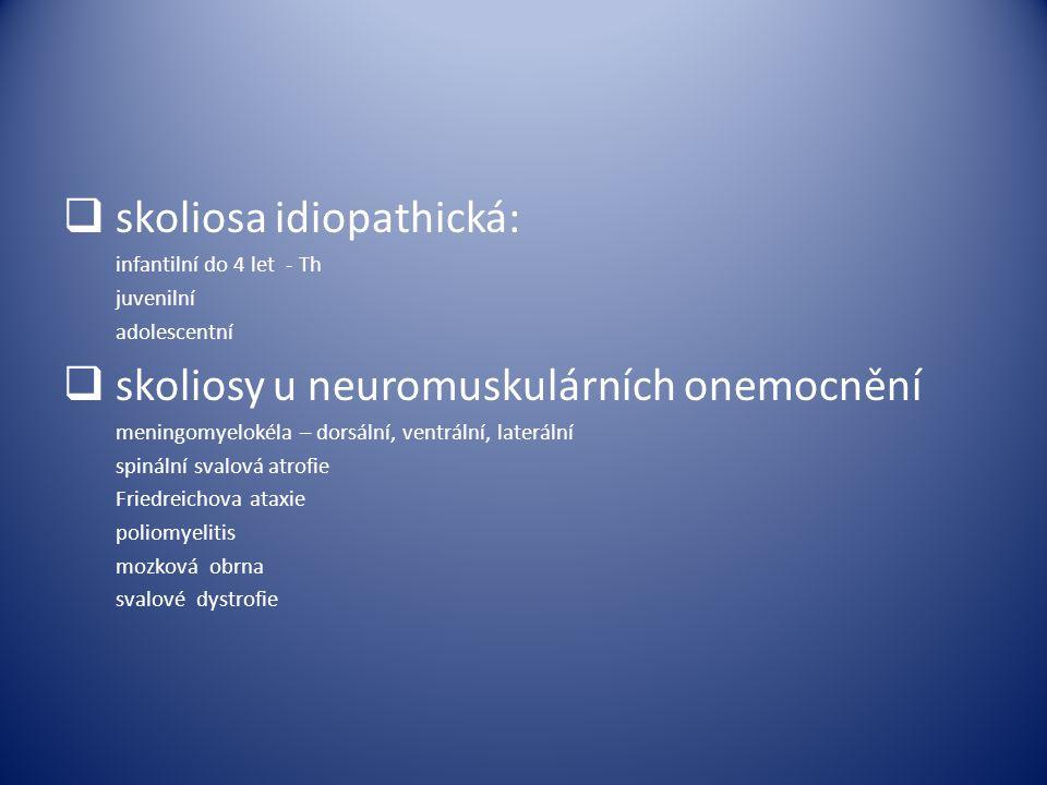  skoliosa idiopathická: infantilní do 4 let - Th juvenilní adolescentní  skoliosy u neuromuskulárních onemocnění meningomyelokéla – dorsální, ventrá