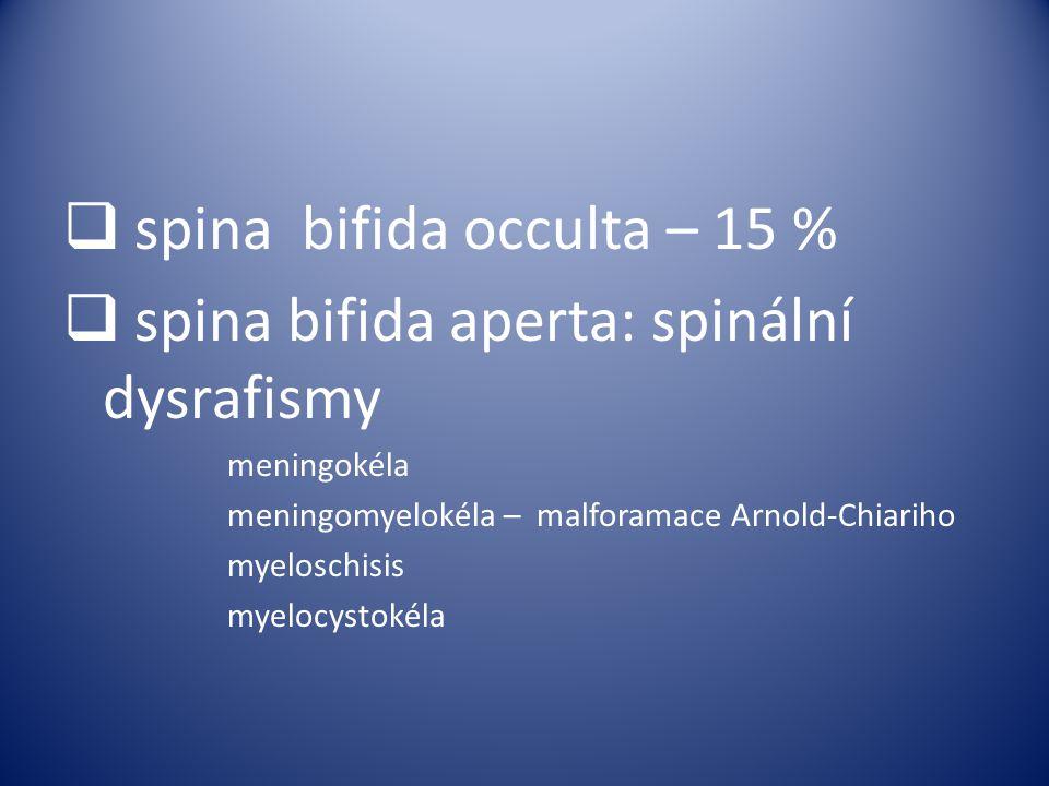  spina bifida occulta – 15 %  spina bifida aperta: spinální dysrafismy meningokéla meningomyelokéla – malforamace Arnold-Chiariho myeloschisis myelo