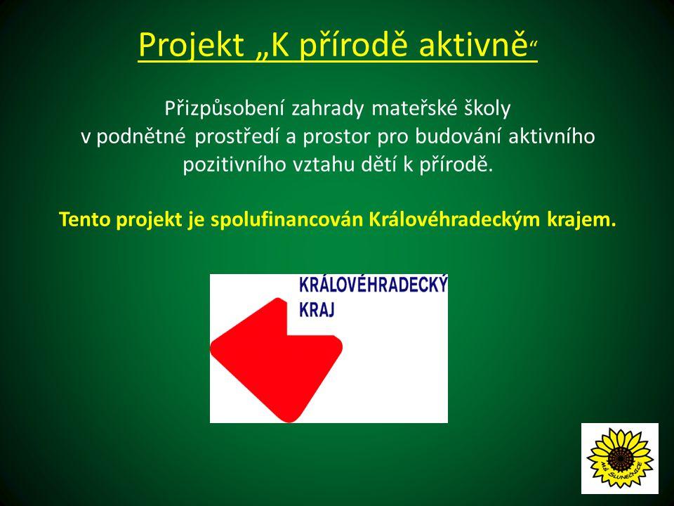 """Projekt """"K přírodě aktivně P řizpůsobení zahrady mateřské školy v podnětné prostředí a prostor pro budování aktivního pozitivního vztahu dětí k přírodě."""