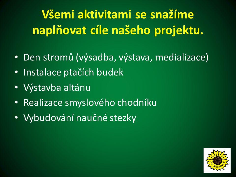 Smyslový chodník Materiál (mulčovací kůra, kamínky a písek) nám poskytly a dovezly Městské lesy Hradec Králové a.s.