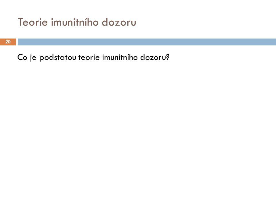 Teorie imunitního dozoru Co je podstatou teorie imunitního dozoru? 20