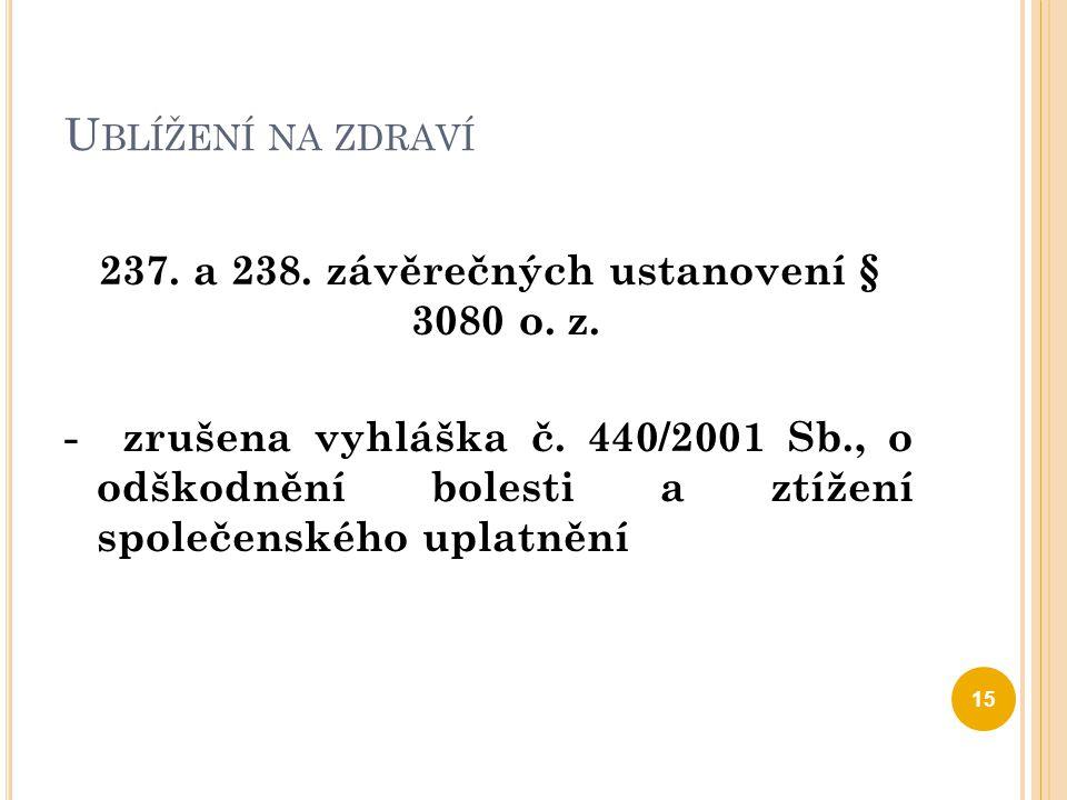 U BLÍŽENÍ NA ZDRAVÍ 237. a 238. závěrečných ustanovení § 3080 o. z. - zrušena vyhláška č. 440/2001 Sb., o odškodnění bolesti a ztížení společenského u