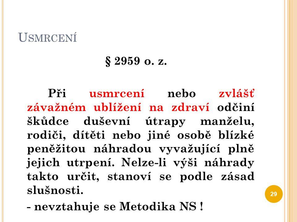 N ÁKLADY PÉČE O ZDRAVÍ § 2960 o.z.