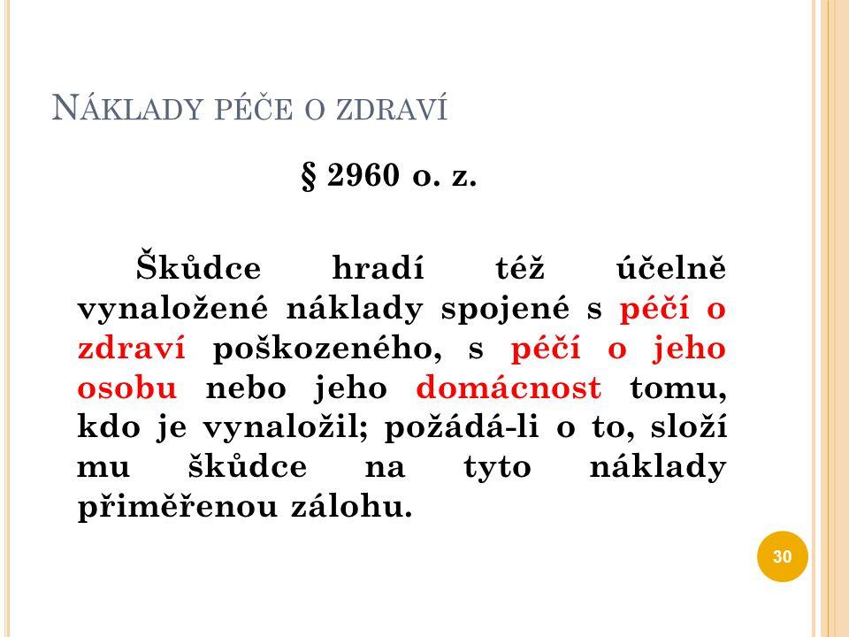 ZTRÁTA NA VÝDĚLKU § 2962 o.z.