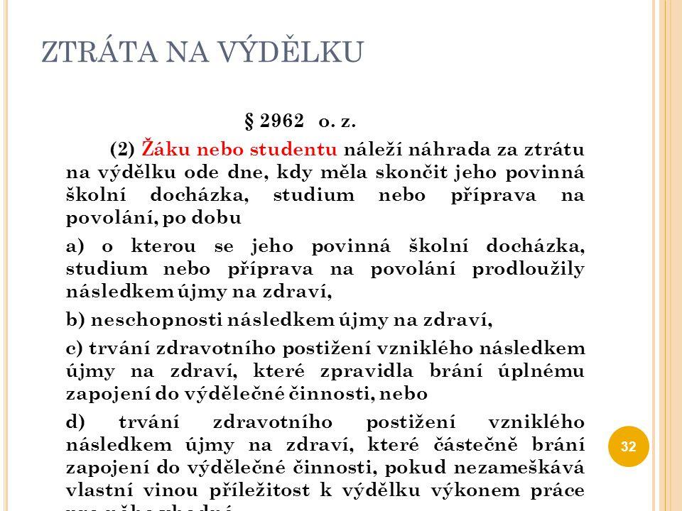 ZTRÁTA NA VÝDĚLKU § 2962 o. z. (2) Žáku nebo studentu náleží náhrada za ztrátu na výdělku ode dne, kdy měla skončit jeho povinná školní docházka, stud