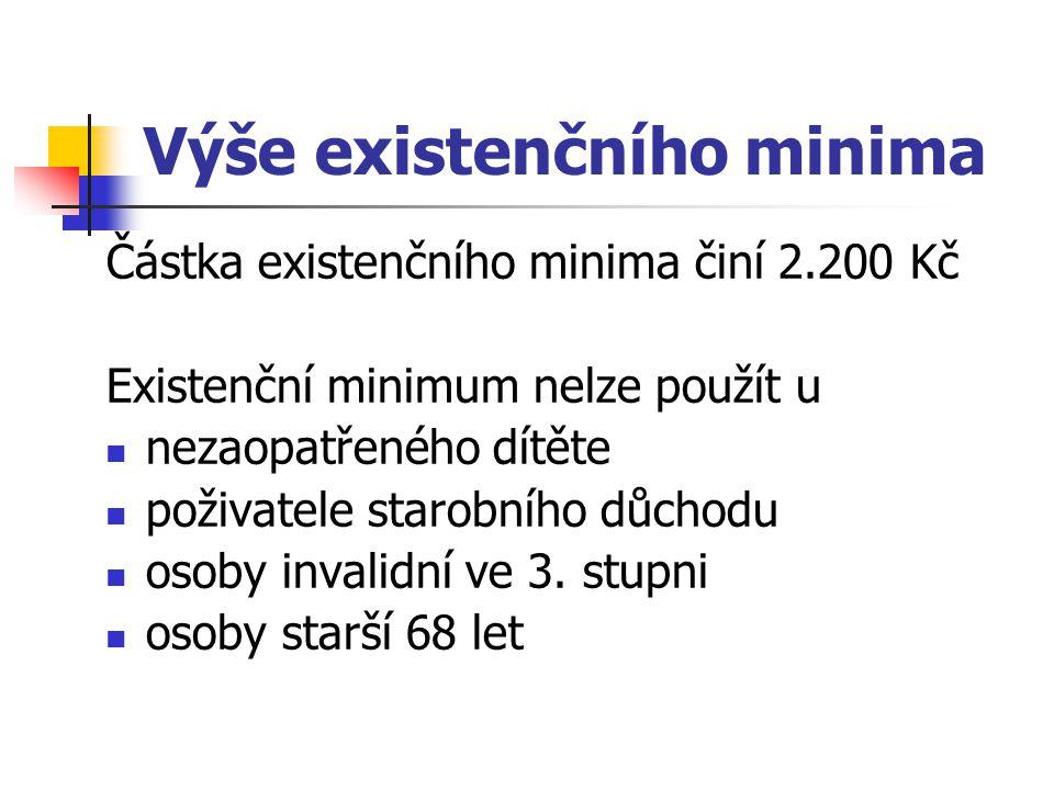 Výše existenčního minima Částka existenčního minima činí 2.200 Kč Existenční minimum nelze použít u nezaopatřeného dítěte poživatele starobního důchod