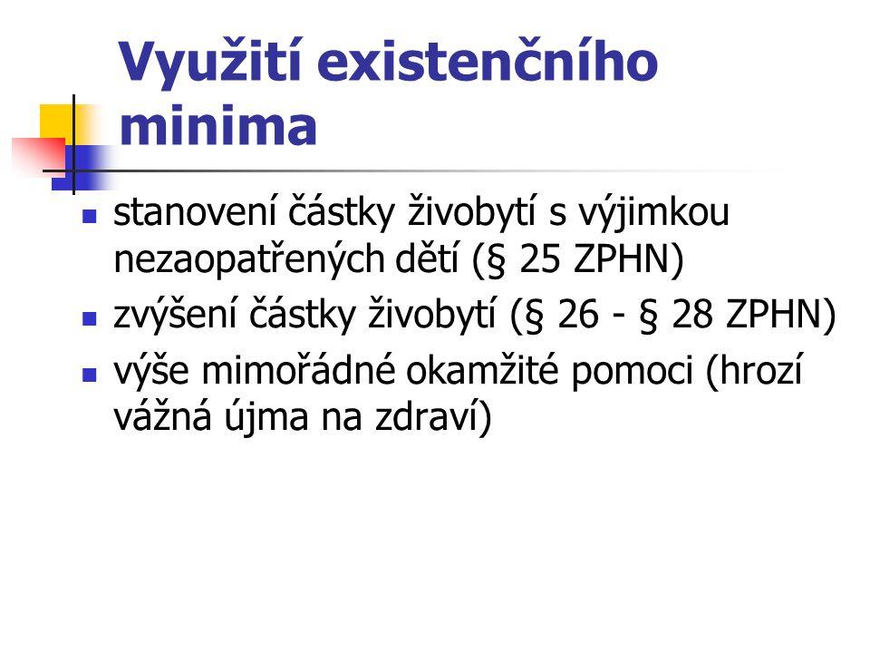 Využití existenčního minima stanovení částky živobytí s výjimkou nezaopatřených dětí (§ 25 ZPHN) zvýšení částky živobytí (§ 26 - § 28 ZPHN) výše mimoř