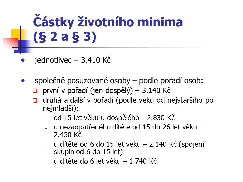 Částky životního minima (§ 2 a § 3)  jednotlivec – 3.410 Kč  společně posuzované osoby – podle pořadí osob:  první v pořadí (jen dospělý) – 3.140 K