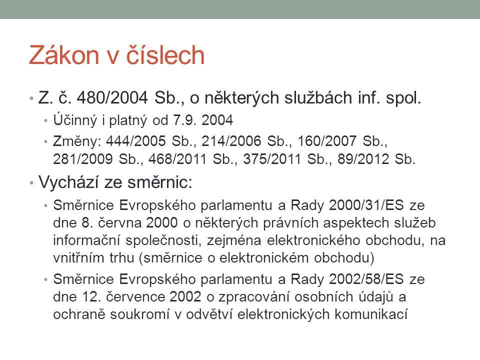 Zákon v číslech Z. č. 480/2004 Sb., o některých službách inf. spol. Účinný i platný od 7.9. 2004 Změny: 444/2005 Sb., 214/2006 Sb., 160/2007 Sb., 281/