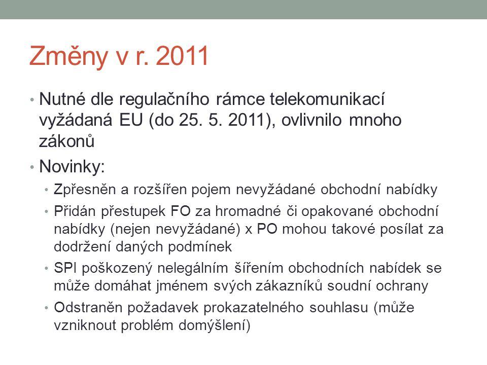 Změny v r. 2011 Nutné dle regulačního rámce telekomunikací vyžádaná EU (do 25. 5. 2011), ovlivnilo mnoho zákonů Novinky: Zpřesněn a rozšířen pojem nev