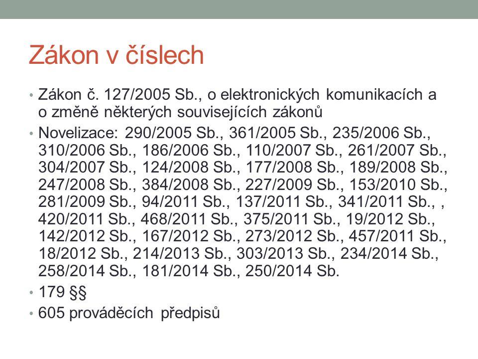 Zákon v číslech Zákon č. 127/2005 Sb., o elektronických komunikacích a o změně některých souvisejících zákonů Novelizace: 290/2005 Sb., 361/2005 Sb.,