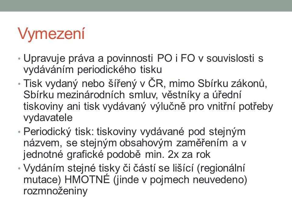 Vymezení Upravuje práva a povinnosti PO i FO v souvislosti s vydáváním periodického tisku Tisk vydaný nebo šířený v ČR, mimo Sbírku zákonů, Sbírku mez