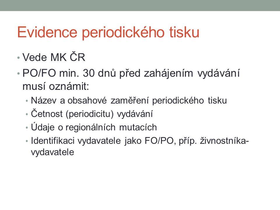 Evidence periodického tisku Vede MK ČR PO/FO min. 30 dnů před zahájením vydávání musí oznámit: Název a obsahové zaměření periodického tisku Četnost (p