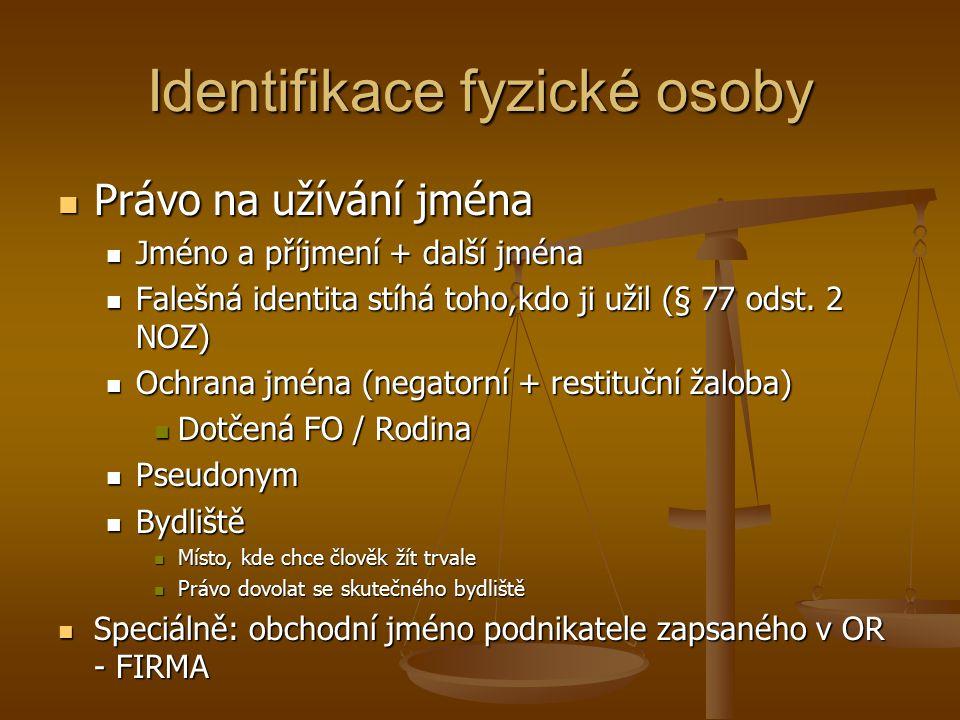 Identifikace fyzické osoby Právo na užívání jména Právo na užívání jména Jméno a příjmení + další jména Jméno a příjmení + další jména Falešná identita stíhá toho,kdo ji užil (§ 77 odst.