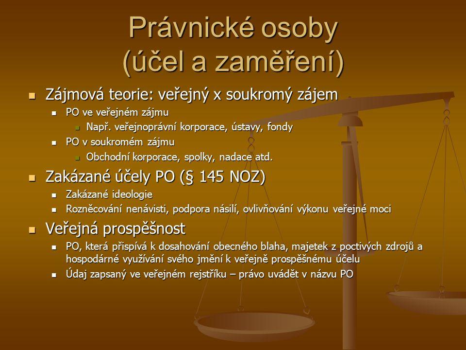 Právnické osoby (účel a zaměření) Zájmová teorie: veřejný x soukromý zájem Zájmová teorie: veřejný x soukromý zájem PO ve veřejném zájmu PO ve veřejném zájmu Např.