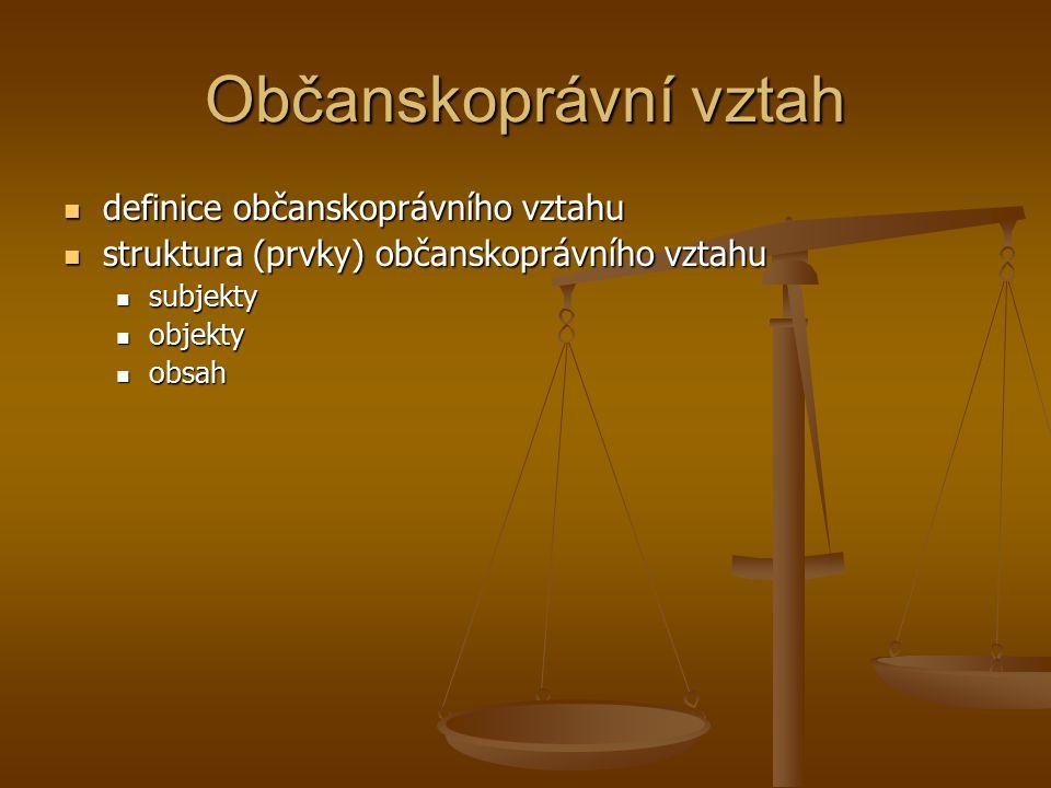 Občanskoprávní vztah definice občanskoprávního vztahu definice občanskoprávního vztahu struktura (prvky) občanskoprávního vztahu struktura (prvky) občanskoprávního vztahu subjekty subjekty objekty objekty obsah obsah