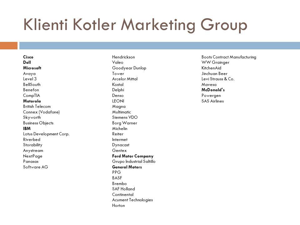 Klienti Kotler Marketing Group Cisco Dell Microsoft Avaya Level 3 BellSouth Benefon CompTIA Motorola British Telecom Connex (Vodafone) Skyworth Busine