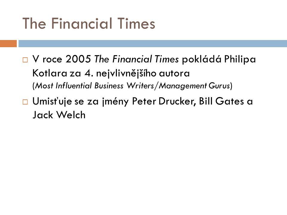 The Financial Times  V roce 2005 The Financial Times pokládá Philipa Kotlara za 4. nejvlivnějšího autora (Most Influential Business Writers/Managemen