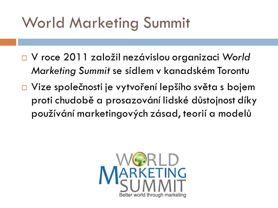 World Marketing Summit  V roce 2011 založil nezávislou organizaci World Marketing Summit se sídlem v kanadském Torontu  Vize společnosti je vytvořen