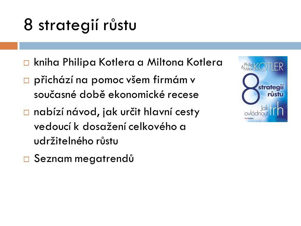 8 strategií růstu  kniha Philipa Kotlera a Miltona Kotlera  přichází na pomoc všem firmám v současné době ekonomické recese  nabízí návod, jak urči