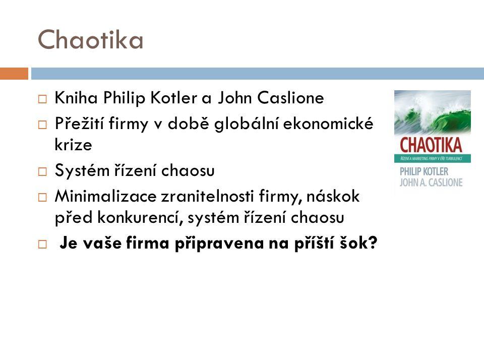 Chaotika  Kniha Philip Kotler a John Caslione  Přežití firmy v době globální ekonomické krize  Systém řízení chaosu  Minimalizace zranitelnosti fi