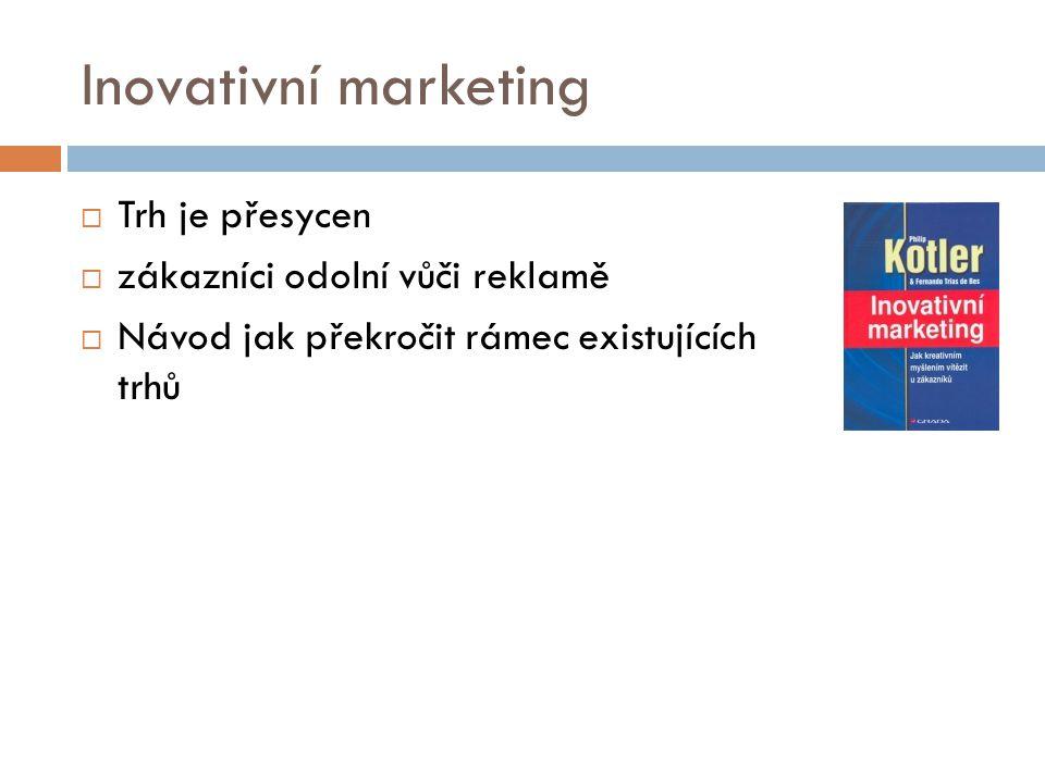 Inovativní marketing  Trh je přesycen  zákazníci odolní vůči reklamě  Návod jak překročit rámec existujících trhů